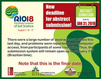Announcement for the 21st World Congress of Soil Science Rio 2018