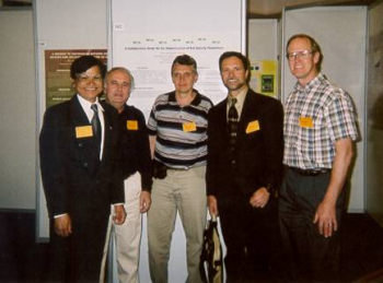 (L to R) Yash Kalra (Canada), Christos Tsadilas (Greece), Peter Csatho (Hungary), Robert Miller (USA), and Darryl Warncke (USA) at one of the eight poster sessions.