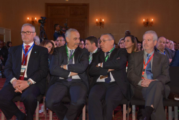 From right to left: Dr. José Rubio (CIDE), Prof. Mohamed Badraoui (INRA DG), Mr. Amine Mounir Alaoui (Executive Vice-President of Fondation OCP) and Mr. Michael George Hage (Representative of FAO in Morocco)